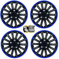 "Smart ForFour 14"" Stylish Black Blue Rim Wheel Cover Hub Caps x4"