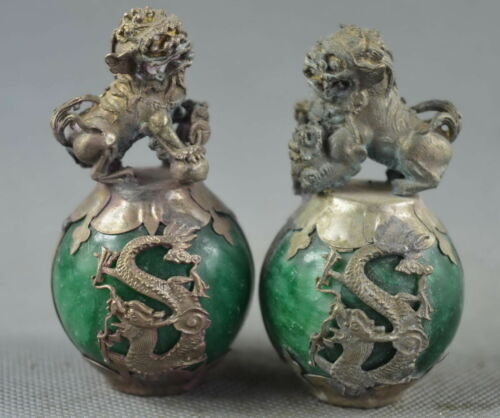China Collectable Old Agate Armor Miao Silver Carving Dragon Phoenix Pair Statue