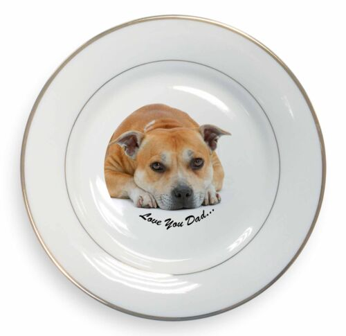 Staff Bull Terrier Dog 'Love You Dad' Gold Rim Plate in Gift Box Chris, DAD99PL