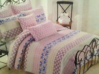 Cynthia Rowley Twin 2pc Quilt Set Lilac Blue Gray Floral Geometric Stripe
