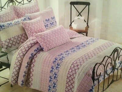 Daisy Floral Garden Pink Yellow Blue Floral Patch Twin Quilt Sham 2pc Bedding
