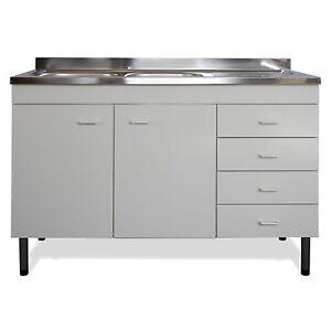 Dettagli su Mobile con lavello 120 per cucina con cassettiera gocciolatoio  destro in acciaio