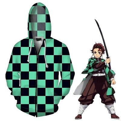 Demon Slayer Kimetsu no Yaiba Kamado Tanjirou Print Zipper Hoodie Hooded Tops