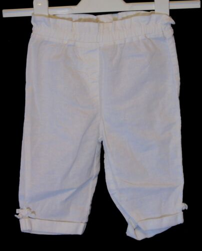 Baby Girls Next White Linen Blend Cropped Capri Trousers Age 18-24 Months