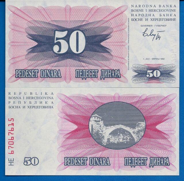 Bosnia Herzegovina P-12 50 Dinara Year 1992 Uncirculated Banknote