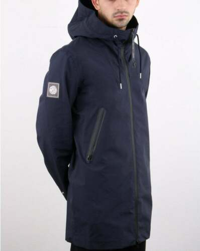 Pretty Green Techincal Parka in Navy Blue water resistant hooded