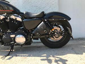 MEDUSA-BLACK-Neu-Seitentasche-Satteltasche-Harley-Davidson-Sportster-Ohne-Halter