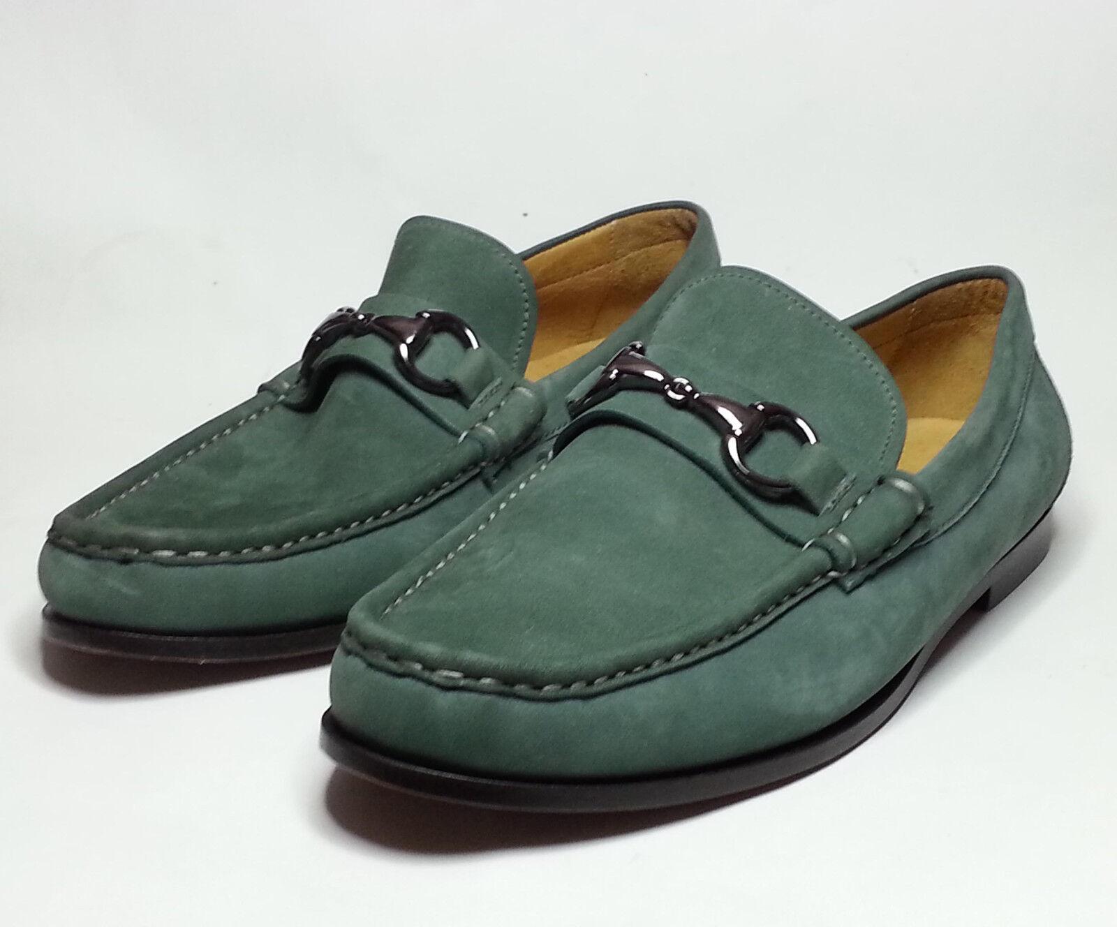 Zapatos de cuero Peter Millar Hombre verde Vestido Bit Mocasín Hecho en Brasil