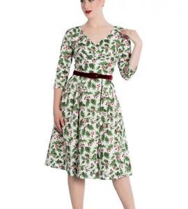 White-Holly-Berry-Dress-XS-UK-8-Hellbunny-UK-Seller