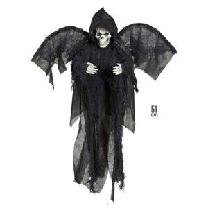 Schreiender Grim Reaper mit Licht und Sound 100 cm Halloween Deko Skelett Horror