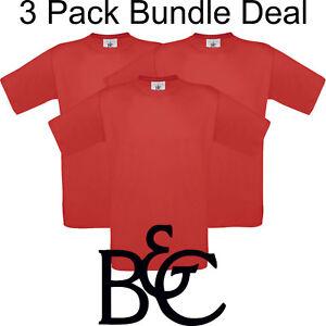 3x-Pack-Unisex-B-amp-C-T-shirt-X-large-Rojo-Original-B-amp-c