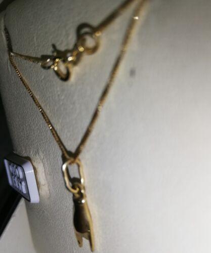Fortuna mano con corna in oro giallo 750 18 kt nuovo Collana  con ciondolo p