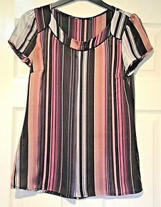 M-amp-S-AUTOGRAPH-LADIES-GORGEOUS-FAUX-SILK-STRIPED-TOP-IN-PINKS-SIZE-8-NEW