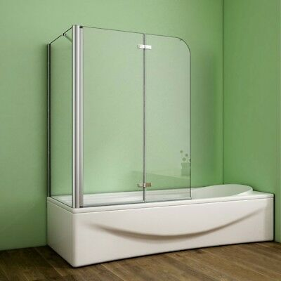 Badewannenaufsatz Duschabtrennung Faltwand Duschwand Seitenwand Echtglas 2-tlg