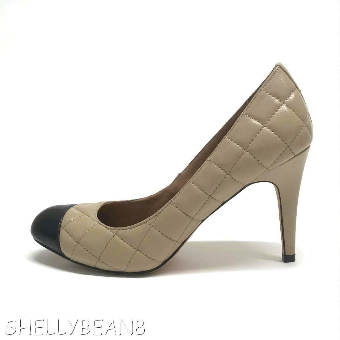 CORSO COMO Quilted Leather Leather Quilted Nude Black CAP TOE Pumps Heels Shoes 9.5 CLASSIC CHiC df0a18