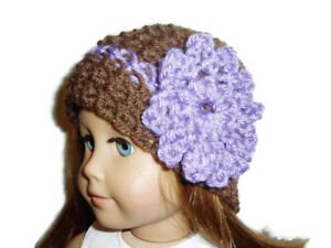 Crochet-Hat-Fits-American-Girl-Dolls-18-034-Doll-Clothes-Brown-with-Purple-Flower
