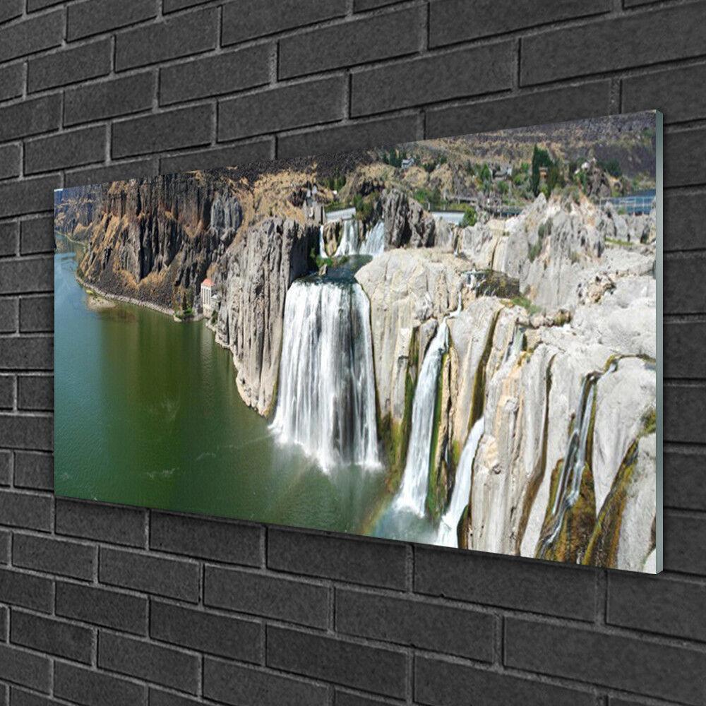 Tableau sur verre Image Impression 100x50 Paysage Montagnes Chute D'eau Lac