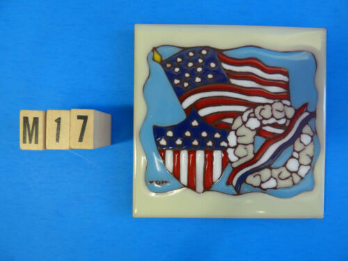 "Ceramic Art Tile 6/""x6/"" Miltary Memorial Day USA Flag Wreath Sign Wall NEW M17"