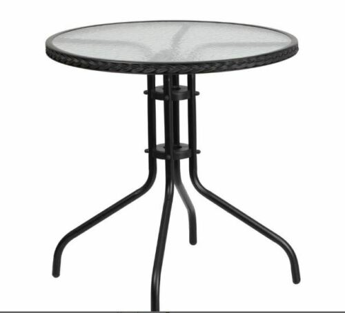 Outdoor Patio Round Coffee Dining Table Tempered Glass Top Patio Furniture Black