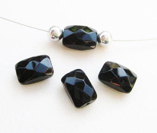 Perles de verre rectangle à facettes 8x12mm Noir 15 Pièce serajosy
