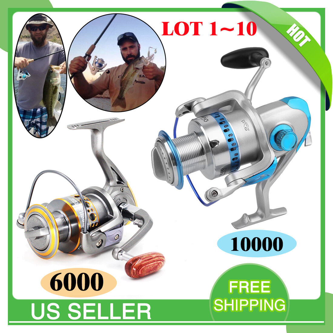 Large Spinning Reel  Baitfeeder Saltwater Surf Fishing Catfish 6000 10000 LOT  to provide you with a pleasant online shopping