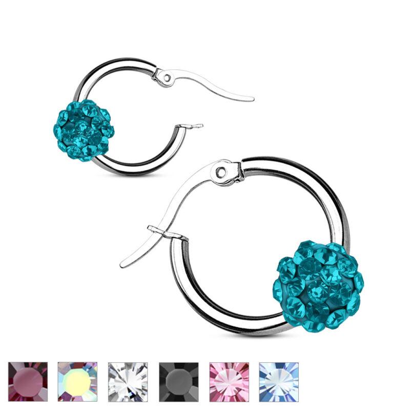 Coolbodyart Ladies Surgical Steel 1 Pair Earrings Silver Tires With Crystal Ball