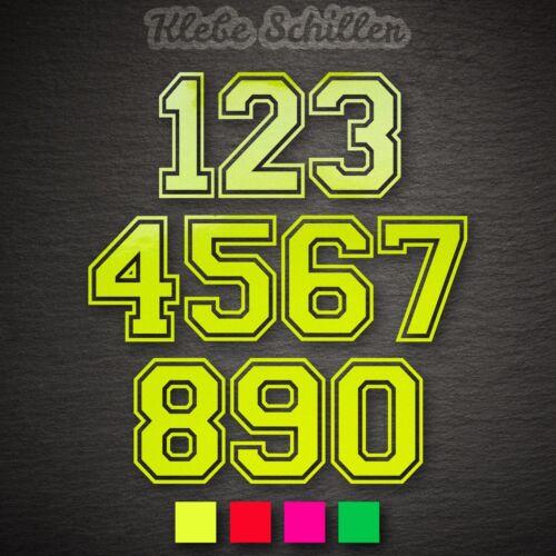15011 à deux chiffres numéro de départ autocollants hauteur 100 mm NEON Auto Start Numéros Bateau