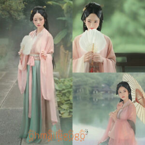 4-Pcs-Set-Women-039-s-Dress-Hanfu-Inner-Tops-Skirt-Coat-Ribbon-Ancient-Costume-Dress