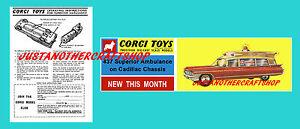 Corgi-Toys-437-Superior-Ambulance-Cadillac-Folleto-de-instrucciones-y-Poster-Cartel