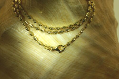 2.2MM ITALIAN YELLOW GOLD PLATED 925 SILVER SPARKLY DC OVAL BEAD CHAIN NECKLACE