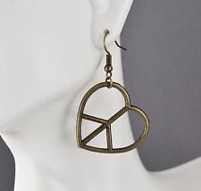 "Peace Sign heart Love earrings dangle lightweight pendant 1.75"" long"