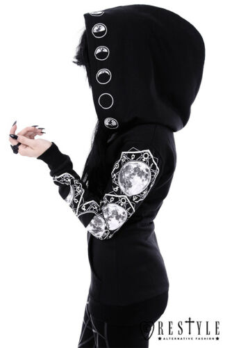 Restyle Black White Moon Cotton Soft Hoodie with Zipper for Gothic Emo Women XS