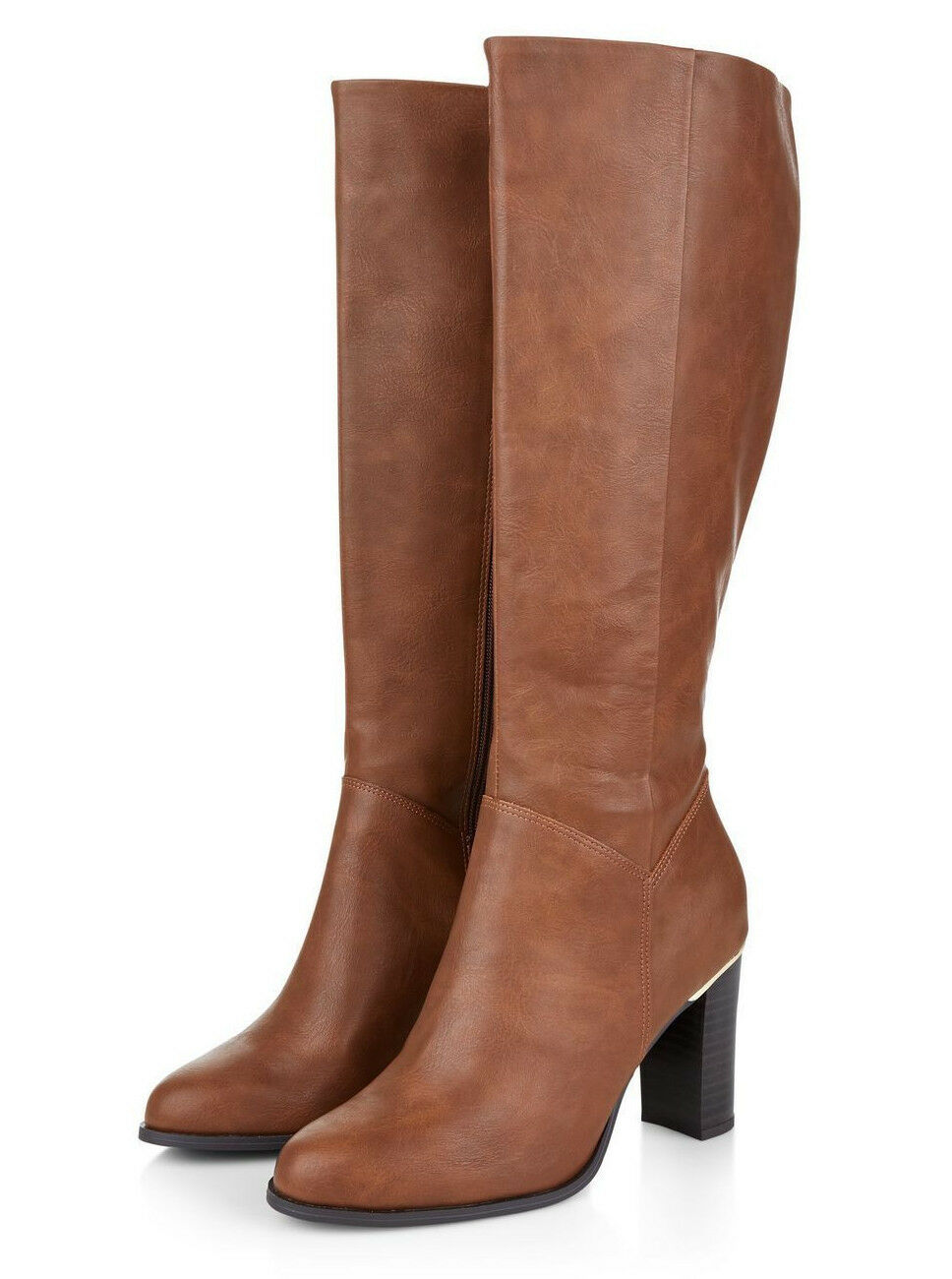NEW LOOK Größe 5 6 7 8 TAN STONE FAUX LEATHER HIGH SLIM HEEL KNEE HIGH Stiefel NEW