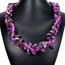 Purple Blister Pearl Necklace Women Handcrafted Beach Holiday Wear Jewellery UK