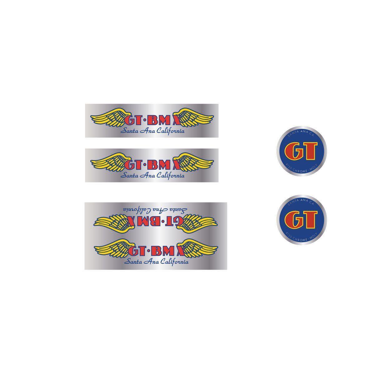"""Old School BMX 1984-1985 Blue /& Chrome Foil GT Santa Ana Ca Coin Decal 2 1//4/"""""""
