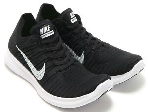 Nike-Free-Rn-Flyknit-Men-039-s-sizes-10-5-13-D-Black-White-831069-001-NEW