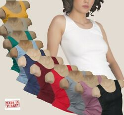 Damen Tank Top  Damenunterhemd drüber + drunter Unterwäsche Baumwolle