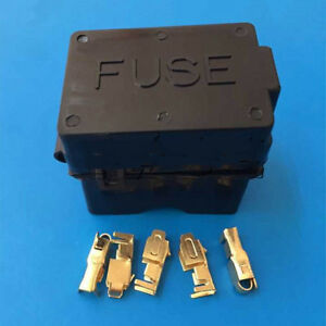 4 way black car medium relay fuse box assembly and 8pcs gold terminals insurance ebay. Black Bedroom Furniture Sets. Home Design Ideas