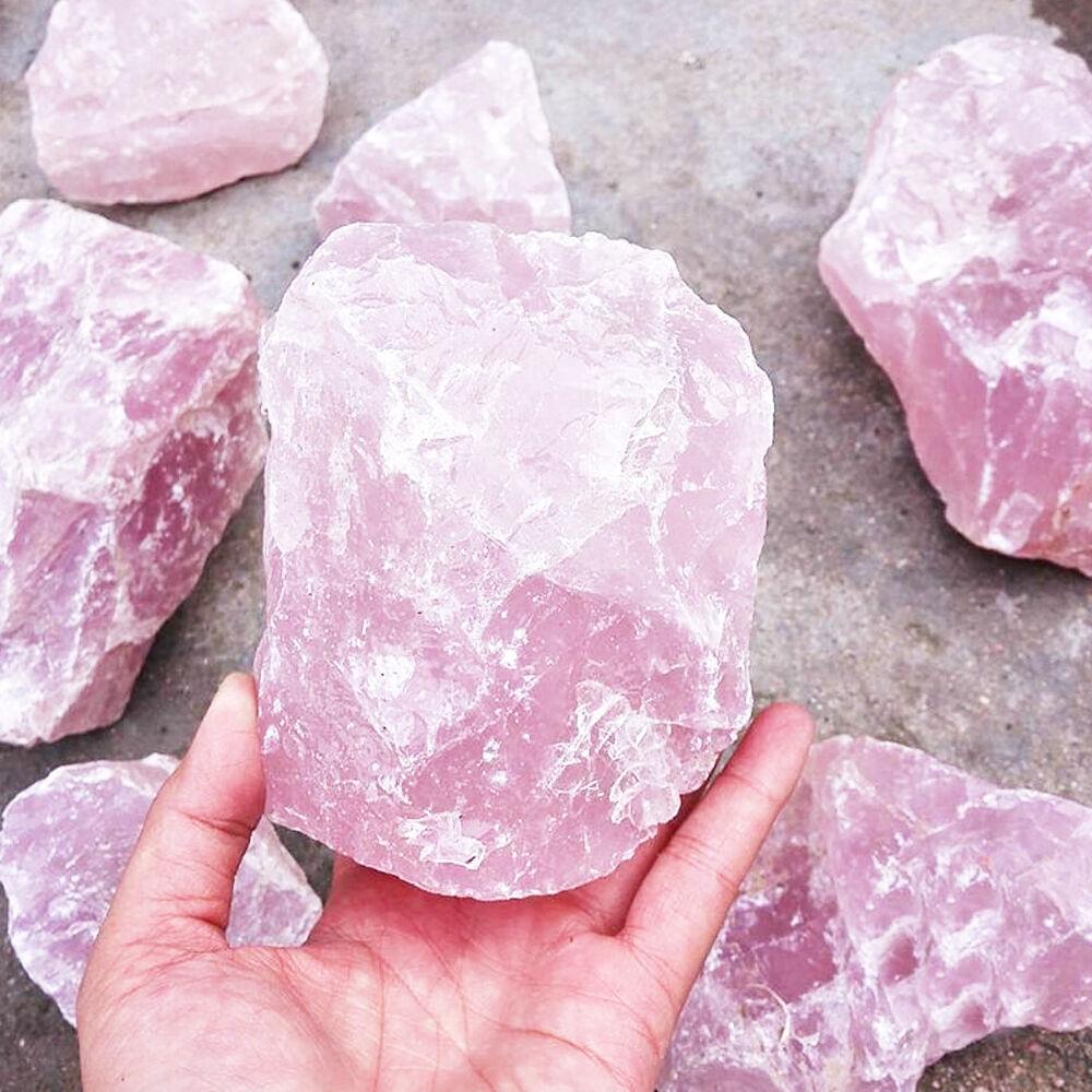 1Pc Large Natural Raw Pink Rose Quartz Crystal Irregular ...