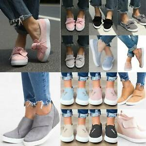 Women Pumps Slip On Ladies Casual Flat Sneaker Trainers Loafers Comfy Shoes Size