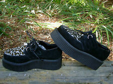 Creeper Black Suede Leopard Print Platform Oxford Hidden Coffin Goth Womens 8.5