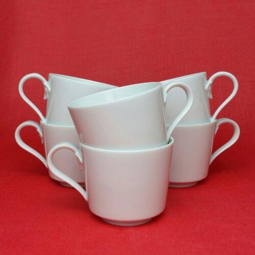 6x Hutschenreuther Louvre Weiß Kaffeetassen Kaffee-Obertassen Porzellan