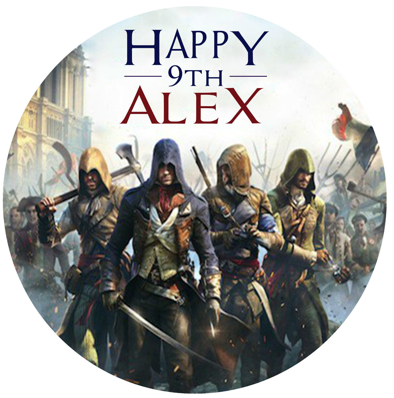 Assassins Creed Unity Personalised Edible Image REAL Icing Round Cake Topper