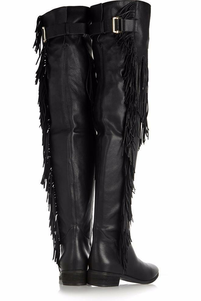 Women Ladies Fringe Tassel Low Heel Thigh High Buckle Over The Knee Riding Boots