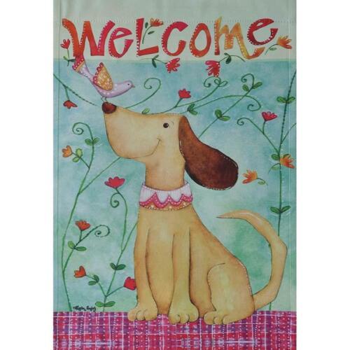 """RAIN OR SHINE SPR DARLING DOG WELCOME 28/"""" X 40/"""" PORCH FLAG 26-3215-110 FLIP IT"""