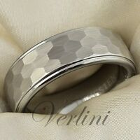 8mm Wedding Band Hammered Men Tungsten Ring Comfort Fit Brushed Rings Size 6-15