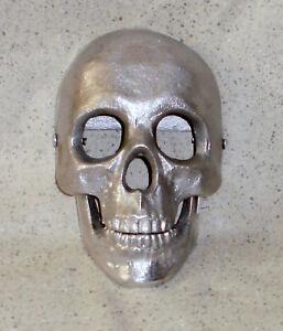 NEW~Lrg Cast Aluminum Silver Finish Skull Door Knocker Halloween~Cree<wbr/>py Decor