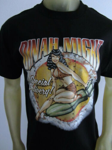 Dinah Might Bomb shell pinup missile vintage tee shirt men/'s black choose a Size