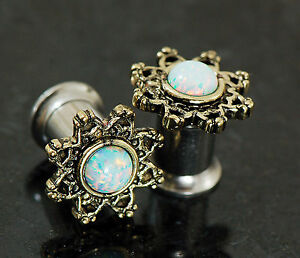 Pair-Lotus-Flower-with-Simulated-Opal-Surgical-Steel-Screw-Fit-Ear-Plug-Tunnels
