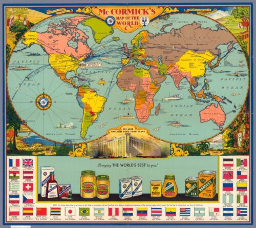 McCormick/'s spices products Bee Brand 1933 pictorial world map POSTER 11471003